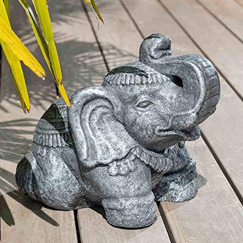 wanda collection Statue Eléphant Assis 40cm Gris Antique