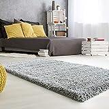 mynes Home Hochflor Teppich Hochwertiger Shaggy Langflor mit 50 mm Florhöhe auch Läufer & Brücke in verschiedenen Farben Premium für Wohnzimmer & Jugendzimmer (Grau, 60cm x 110cm)