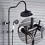 YLG 3-Funktion Duschsystem, Schwarz Duschset, Duschköpfe und Handbrausen, Höhenverstellbar