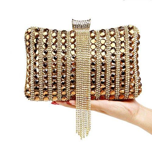 NAOMIIII Frauen Diamant Quasten Formale Partei Hochzeit Abend Sparkly Clutch Tasche Gold