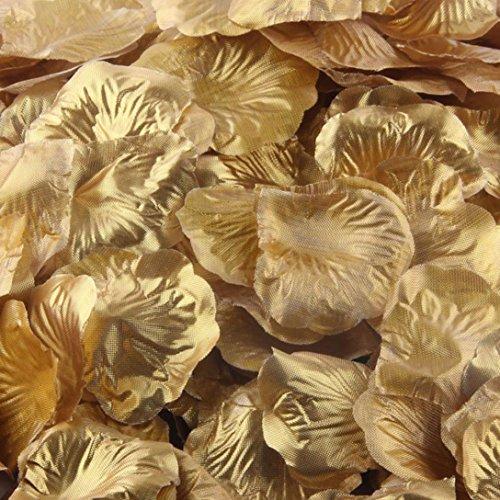 LuckyGirls 1000 stücke Seide Rosenblätter Künstliche Blume Hochzeit Gunsten Brautdusche Gang Vase Decor Konfetti (Gold)