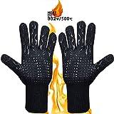 MojiDecor Grillhandschuhe hitzebeständig bis zu 500°C, 1 Paar BBQ Handschuhe Ofenhandschuhe Silikon Rutschfeste Kochenhandschuhe Backhandschuhe, Extra Lang Zum Grillen, Kochen, Backen, Feuerplatz