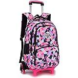 BOZEVON Kids Trolley Backpack - Backpacks for Girls School Bags Casual Daypacks Travel Trolley Backpack with Wheels, Black,6