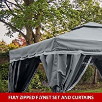 Florence Gazebo 3m X 3m Grey Fully Waterproof Pvc Lined Canopy Heavy Duty Complete With Fly Nets And Curtains *****stock In End Of February**** from MASTERS OUTDOOR LEISURE LTD