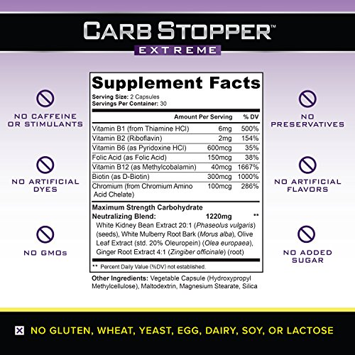 61XC26sFrpL. SS500  - CARB STOPPER EXTREME (3 Bottles) - Maximum Strength Carbohydrate & Starch Blocker Weight Loss Supplement with White…