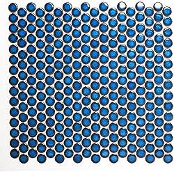 Mosaikfliesen Fliesen Mosaik Küche Bad WC Wohnbereich Fliesenspiegel Keramik Knopf uni kobalt blau glänzend 5mm #198