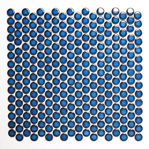 Mosaikfliesen Fliesen Mosaik Küche Bad WC Wohnbereich Fliesenspiegel Keramik Knopf uni kobalt blau glänzend 5mm #198 - Kobalt-boden