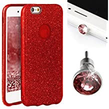 purpurina Carcasa para iPhone 6Plus/6S Plus EGO® Back Case Bumper brillante transparente silicona TPU Glamour Funda Strass–Carcasa para iPhone 6Plus/6S Plus brillo de labios rojo rojo