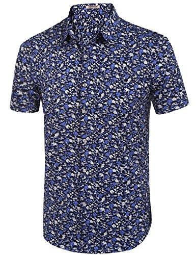 HOTOUCH Herren Hawaiihemd Hawaiishirt Urlaub Hemd Strandhemd Freizeithemd Hawaii-Print Mit Kurzarm Typ1-Schwarz/Lila