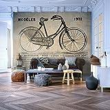 decomonkey | Fototapete Vintage 300x210 cm XXL | Design Tapete | Fototapeten | Tapeten | Wandtapete | moderne Wanddeko | Wand Dekoration Schlafzimmer Wohnzimmer | Fahrrad Braun Beige | FOB0204a62XL