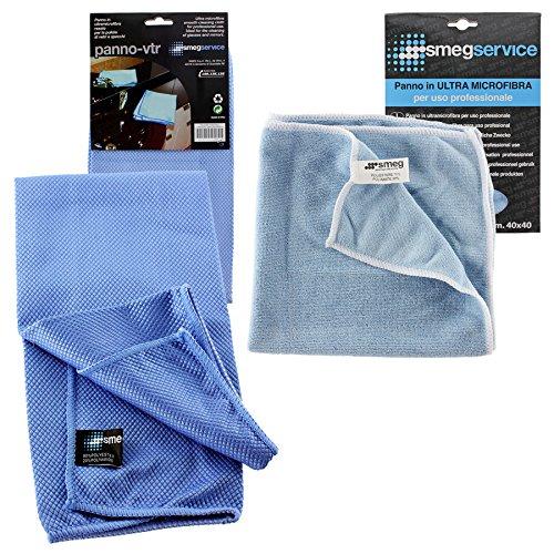 Smeg Genuine paños de limpieza espejo cristal Ultra Gamuza de microfibra multiusos (Pack de 2)