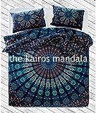 handgefertigt, Mandala Bettbezug, doppelt, böhmische Bettbezug, Mandala Betten doppelt, Doppel-Königin oder King Size mit Kopfkissen, Textil, multi, Einzelbett-Größe