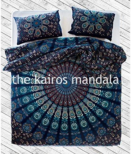 handgefertigt, Mandala Bettbezug, doppelt, böhmische Bettbezug, Mandala Betten doppelt, Doppel-Königin oder King Size mit Kopfkissen, Textil, multi, Einzelbett-Größe -