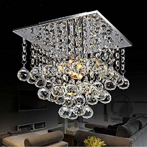LJF Lampe Pendelleuchten LED Kristall Kronleuchter Mini Kristall Glanz Moderne LED Deckenleuchte Lichter 22 x 22 Quadrat 1 Licht [Energieklasse A ++] (Size : 22 * 22cm) (Wie Viel Ist Ein Schuss Glas)