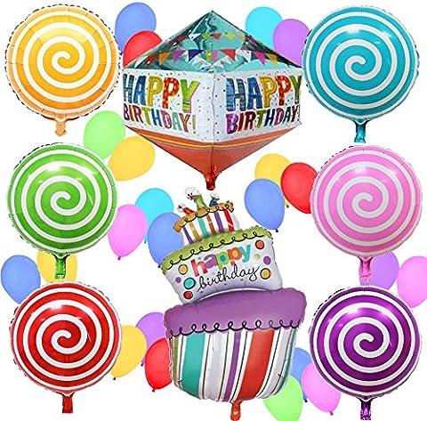Sterling James Co. Pack de ballons stylisés et multicolors pour anniversaire - Accessoire ou décoration pour fête d'enfant, d'adulte ou même de vieux !