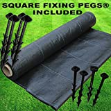 Elixir Gardens ® 1m x 50m Heavy Duty Woven Weed Landscape Fabric Control Ground Cover + 50 Pegs