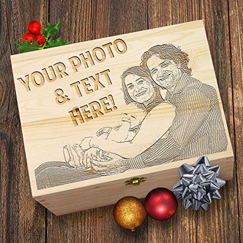 Wunschnamen Gravieren Ihre Foto Weihnachten Santa Geschenk Holzbox