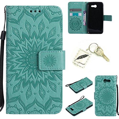 Preisvergleich Produktbild Silikonsoftshell PU Hülle für Samsung Galaxy J3 (2017) Tasche Schutz Hülle Case Cover Etui Strass Schutz schutzhülle Bumper Schale Silicone case+Exquisite key chain X1) #KC (4)