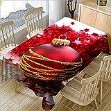 hhlwl Tischdecke Home Party Decoration Tischdecke 3D Rote Weihnachtskugel Rechteckige Große Zentimeter Tischdecke, Rund 274 cm