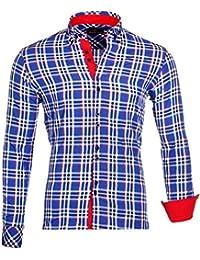 Reslad Herren-Hemd Tartan Karo-Hemd Design Langarmhemd RS-7211