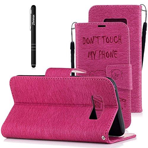 (Slynmax Schutzhülle Kompatibel mit Samsung Galaxy S8 5,8 Zoll Hülle Weich PU Leder Tasche Flip Case Wallet Ledertasche Bär Anime Brieftasche Lederhülle mit Lanyard im Slim Handyhülle Klapphülle,Rosa)
