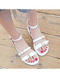 ZHANGJIA Sandalias de Tacón Medio Zapatos de Estudiante de Verano Femenino Palabra Hebilla con áspero con Zapatos...