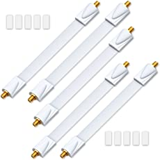 deleyCON 5x Fensterdurchführungen SAT Kabel 17cm flexibel/26cm Länge/Kupplung Fenster & Türen vergoldet extrem flach geschirmt Klebepads - Weiß