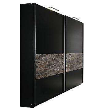 Schwebetürenschrank schwarz braun  rauch Schwebetürenschrank Sumatra schwarz, Vintage-Optik braun B/H ...