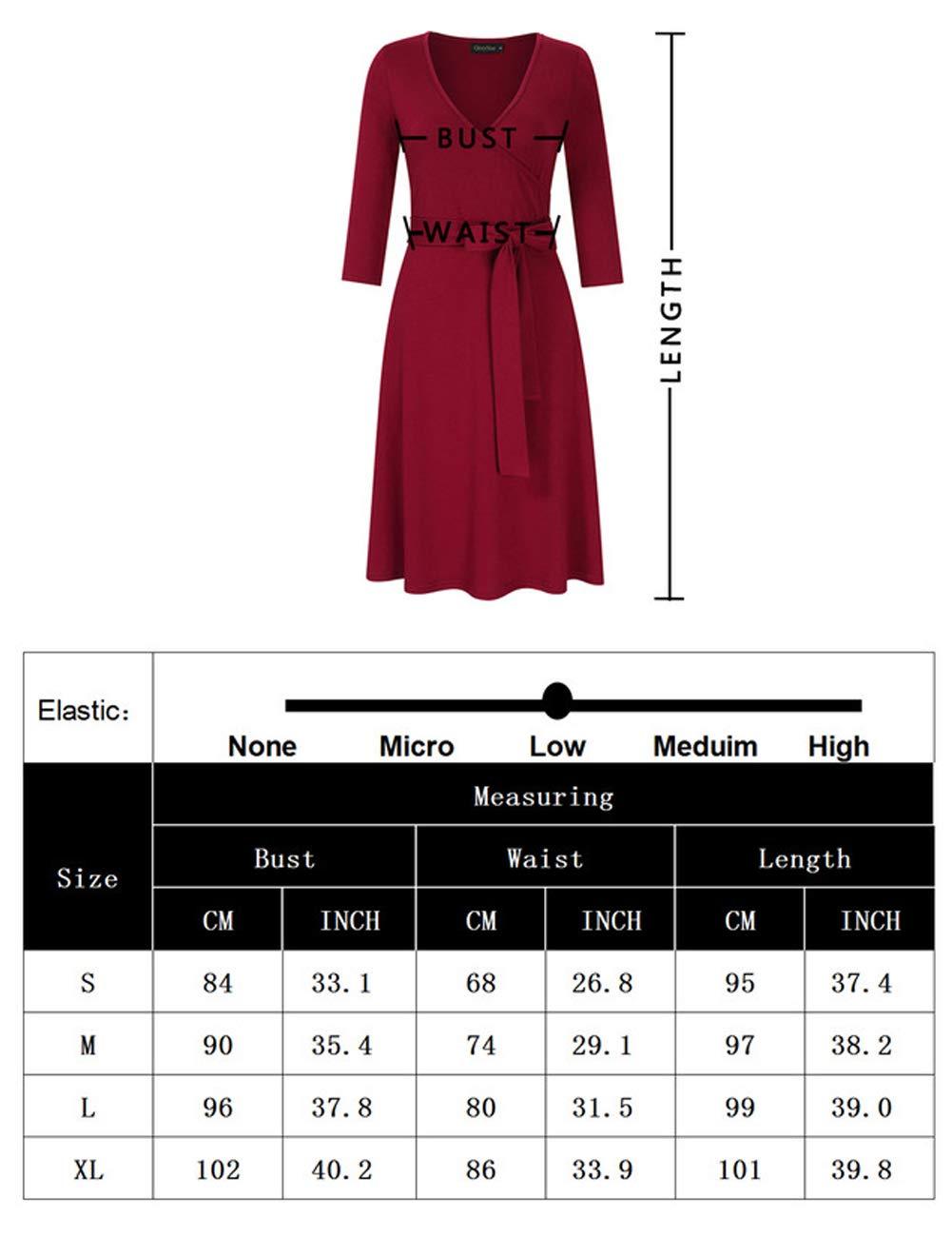 check out df92d e0f2d KOJOOIN Damen Kleid Business Kleid Knielang Wickelkleid, 3/4 Arm mit  V-Ausschnitt und Gürtel(Verpackung MEHRWEG)