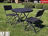 Stabile und robuste Gartengarnitur mit 2 Stühlen, Kunststoff, klappbar, schwarz, Tisch rund