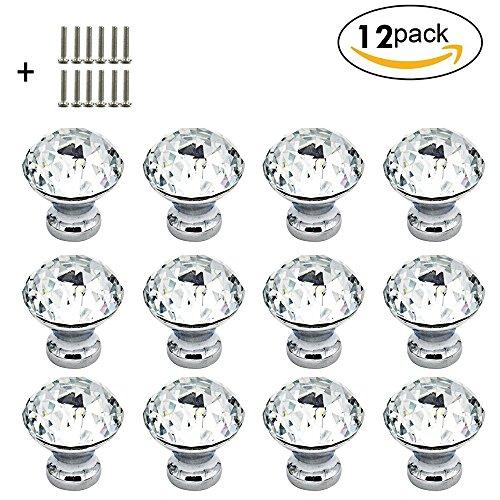 VIPMOON 12 Pack 30mm Diamant Kristall Glas Tür Knopf Schublade Küche Schrank Schrank Möbel Griff