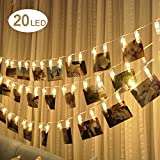 Enjoydeal LED Photo Clip String Lights,20LED Photo Clips Battery Powered 3M Photo Window Hanging Peg Fairy String Light for Hanging Picture,Notes, Paintings Card,Home Decoration,Wedding Party, Warm White
