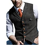 JinXuanYa Mens Tweed Check Waistcoat Wool Herringbone Casual Suit Waistcoat Notch Collar Classic Slim Fit for Party Groomsmen