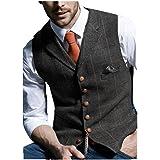 JinXuanYa Mens Tweed Check Waistcoat Wool Herringbone Casual Suit Waistcoat Notch Collar Classic Slim Fit for Party Groomsmen