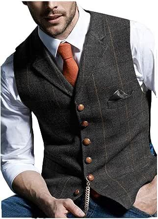 JinXuanYa Mens Tweed Check Waistcoat Wool Herringbone Casual Suit Waistcoat Notch Collar Classic Slim Fit for Party Groomsmen Business