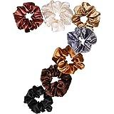 Uni-Fine 7Pezzi Scrunchies per capelli Raso,Seta Elastico Accessori per Corda,Cotone Ponytail Holder Legami per Capelli Morbi