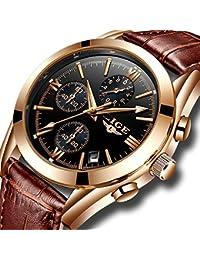 Homme montres Cuir analogique montre à quartz Homme Date Business Robe Montre-bracelet pour homme Étanche Sport