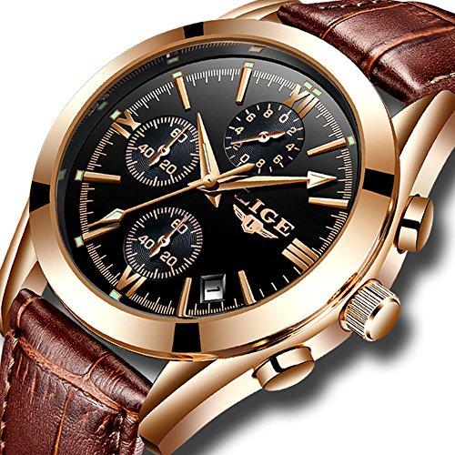 LIGE Herren Uhren Mode Leder Wasserdicht Sport Analoger Quarz Uhr Luxus Geschäft Chronograph Datum Armbanduhr Gold Schwarz