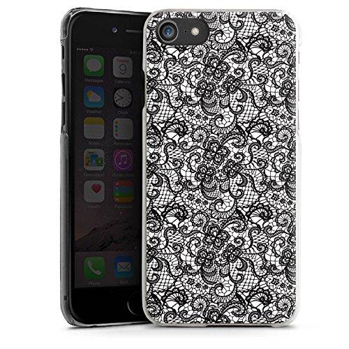 Apple iPhone X Silikon Hülle Case Schutzhülle Blumen Schwarz Weiß Muster Hard Case transparent