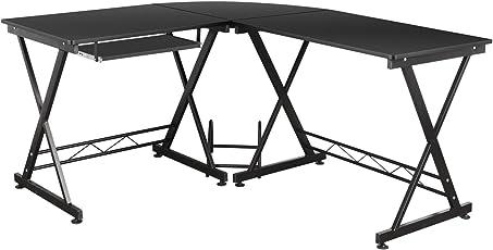 HOMFA Computertisch Computerschreibtisch Bürotisch Schreibtisch PC Tisch  Arbeitstisch Notebook Tisch Für Hause Office (Schwarz Xxl