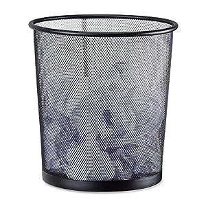 Relaxdays Papierkorb Metall, Mülleimer aus Drahtgeflecht, runder Drahtkorb für Büro, 26 cm Ø, 27,5 cm hoch, schwarz