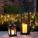 2er Set dunkelgraue Metall Laternen Malvern LED Kerze Timer 34cm
