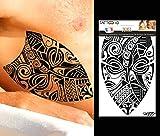 TATTOO ID XXL MARQUISIEN 2 tribal polynésien maori tatouage grand format ephemere temporaire hypoallergénique Fabriqué en FRANCE 1 planches 22cm x 14,5cm Homme Femme