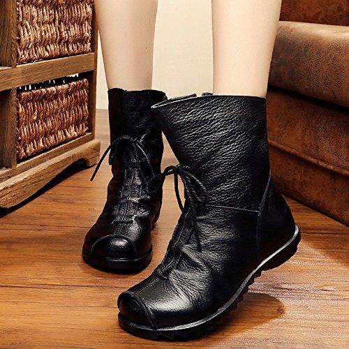 &zhou Femme Martin bottes d'automne et des bottes à la main d'hiver black cotton
