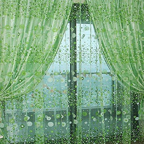 Kasit Floral Pattern-Tenda a pannello in Voile con finestra trasparente, Drapes-Tenda, Verde, 39.4 in x 78.8 in