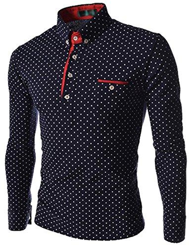 Acefast INC solo modo para hombre lujo Casual Slim Fit Lunares Elegante vestido de manga larga camisas