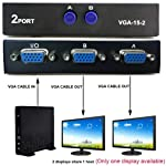 WorldZone VGA 2 in 1 Out 2 Port VGA Switch Press Button Two Way VGA Vedio Switch for PC TV Monitor -Black