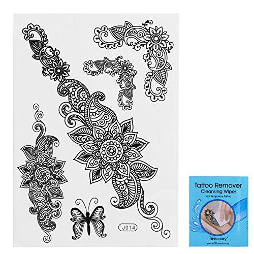 lic Henna Tattoos – 5 Blatt Wasserdicht Mandala, Mehndi, Sexy Schwarz Henna Spitze temporäre Tattoo – Body Art Aufkleber für Halloween Weihnachten Party (Halloween-make-up In 5 Minuten)
