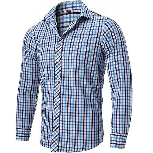 INFLATION Herren Hemd Karo Hemd Freizeithemd Kariert Hemd aus 100% Baumwolle Langarm, Grau mix Blau, DE S