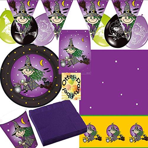 t für 8 Kinder 54 Teile Teller Becher Servietten Tischdecke Tüten Luftballons Wimpel (Halloween-hexe-party)